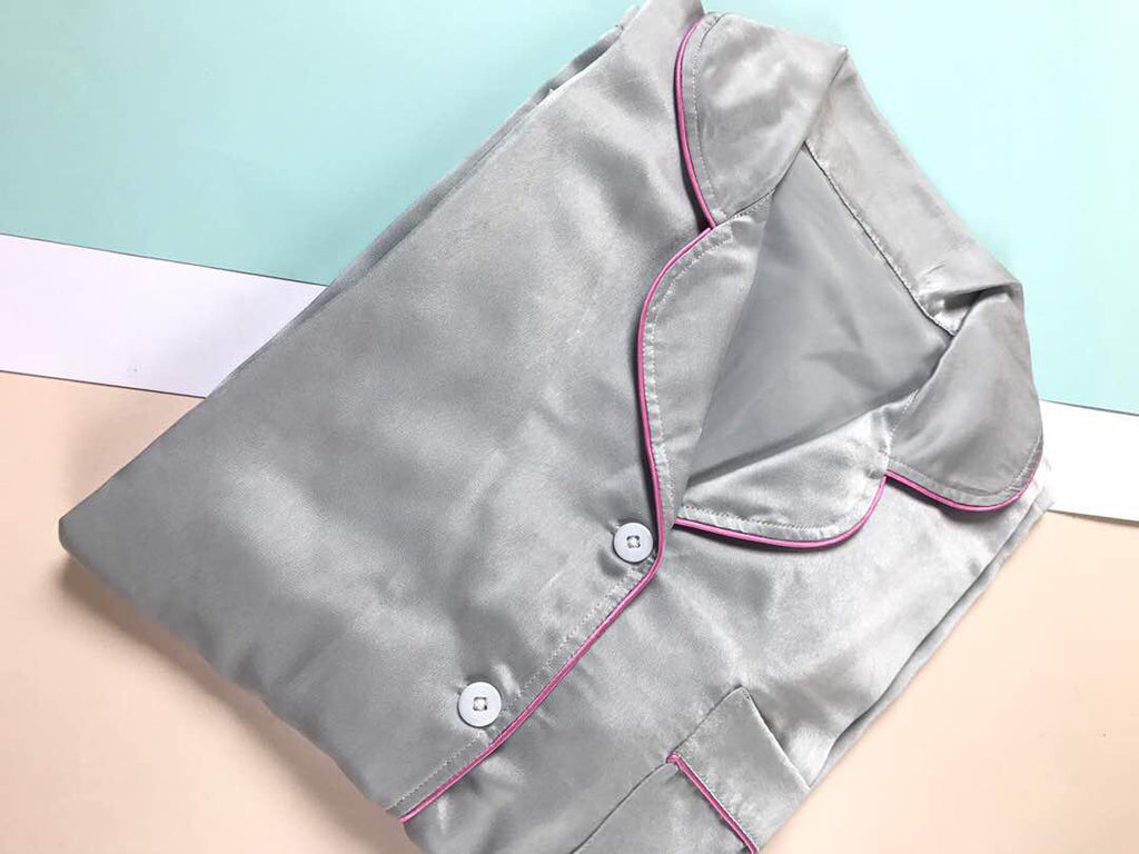 Light Grey Satin Long Pants (Pink Lining)
