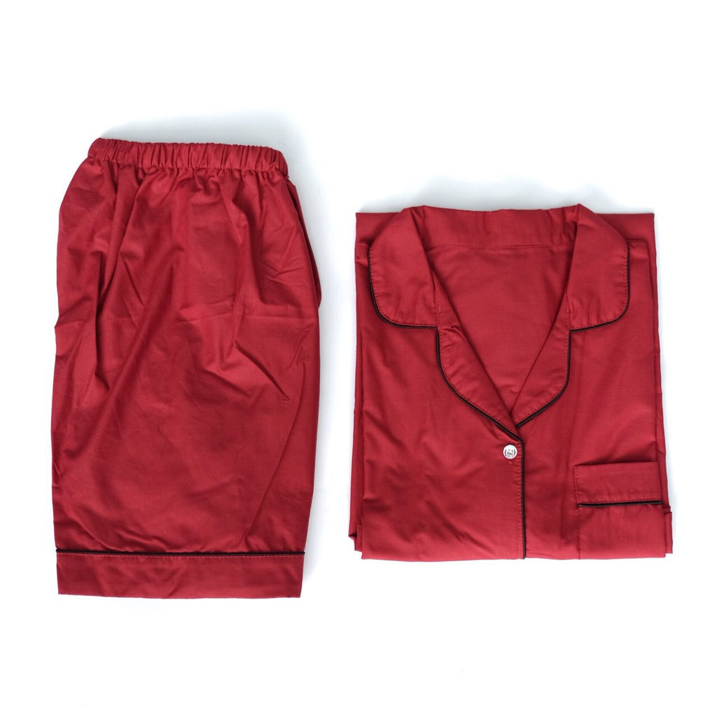 Plain Maroon Short Pants Set