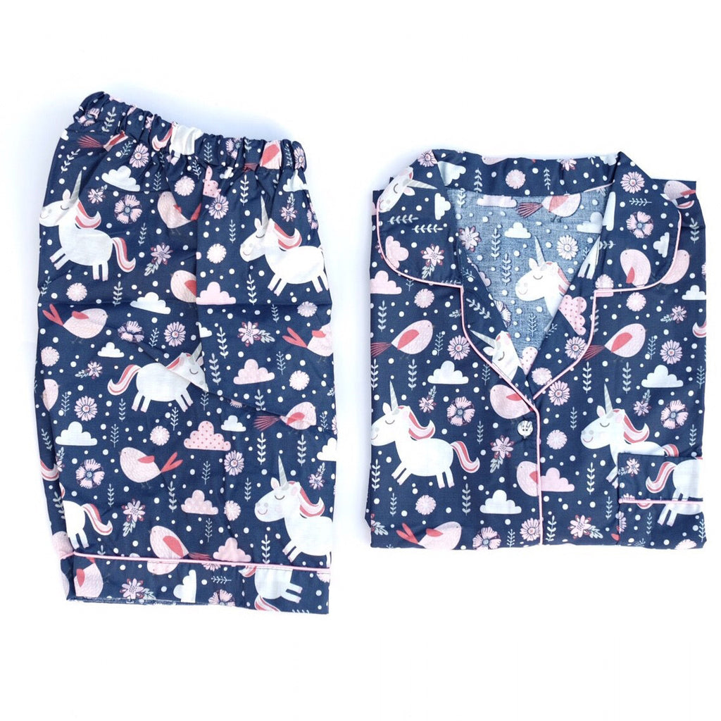 Unicorn Navy Short Pants Set
