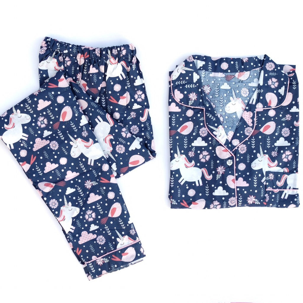 Unicorn Navy Long Pants Set