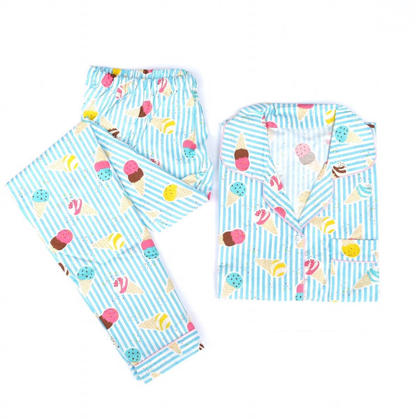 Blue Ice Cream Long Pants Set