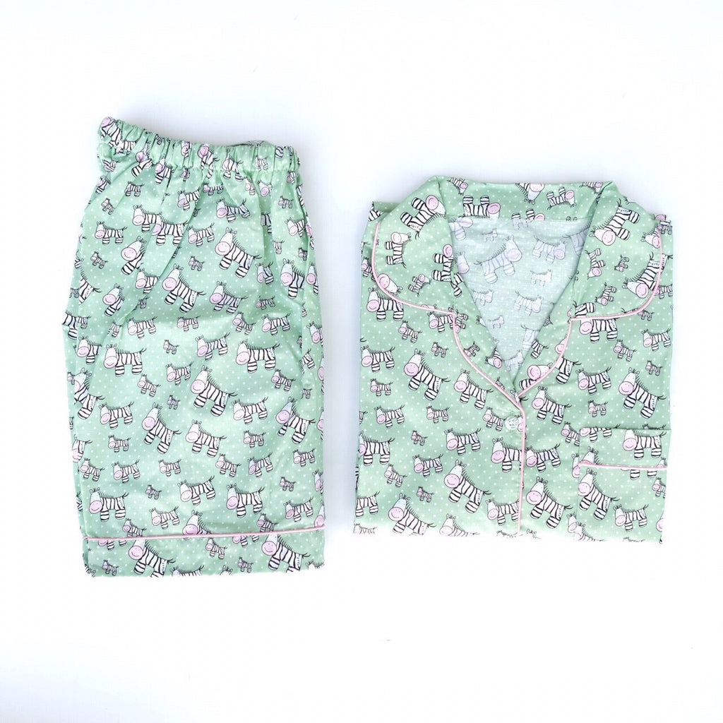 Zebra Green Short Pants Set