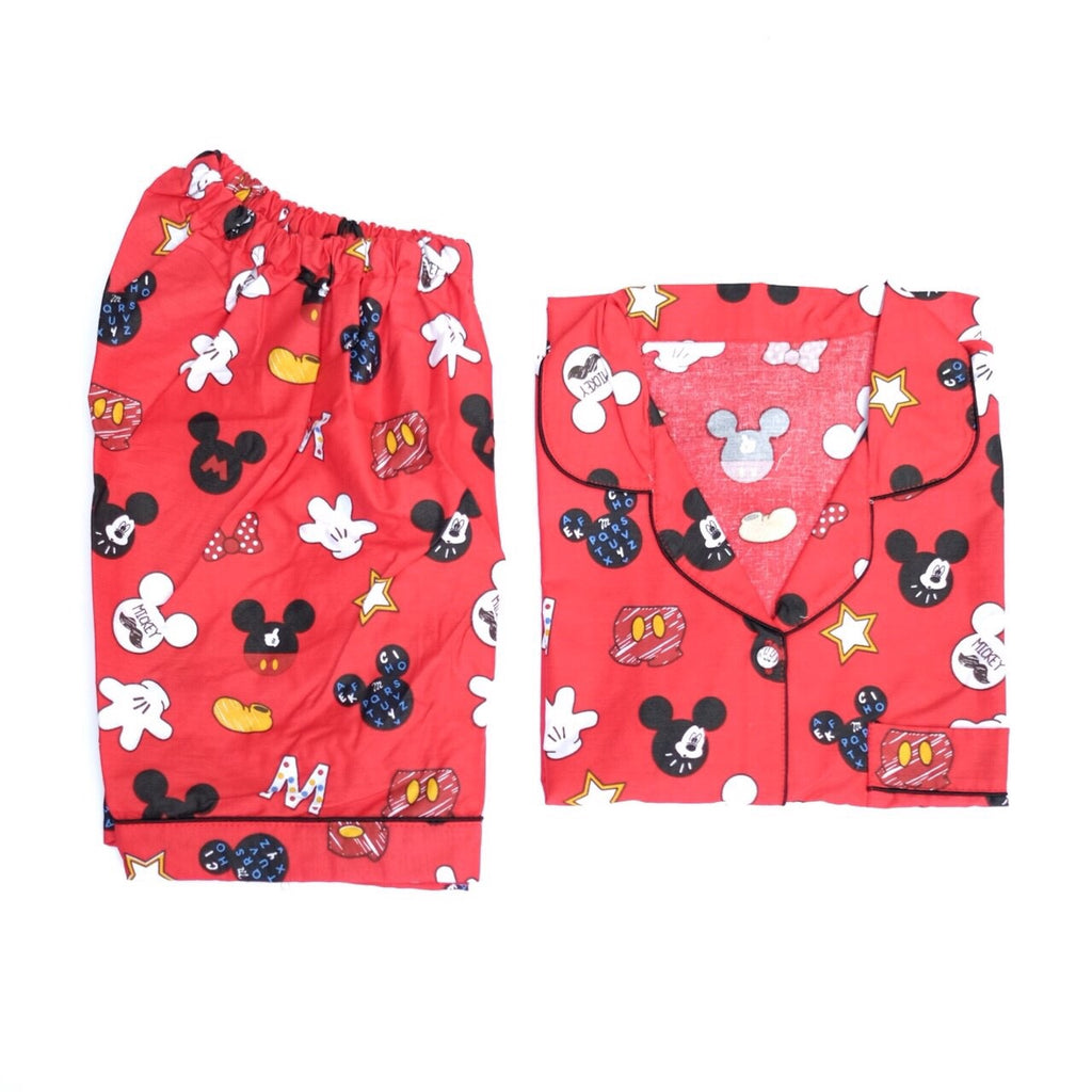 Red Mickey Short Pants Set