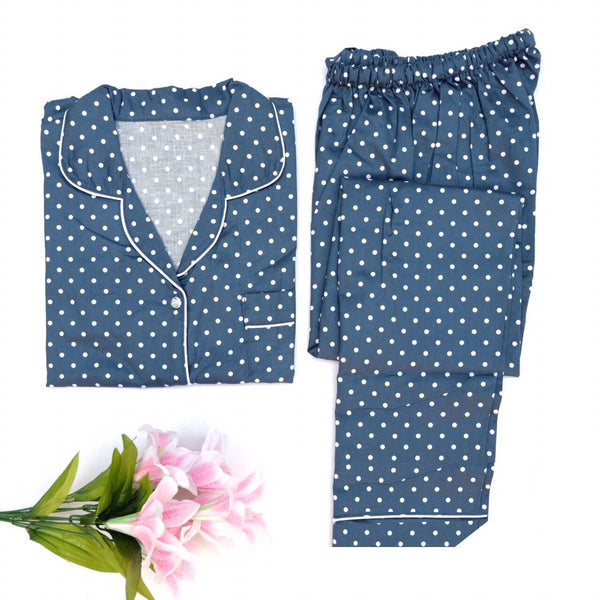 Navy Polkadot Long Pants Set