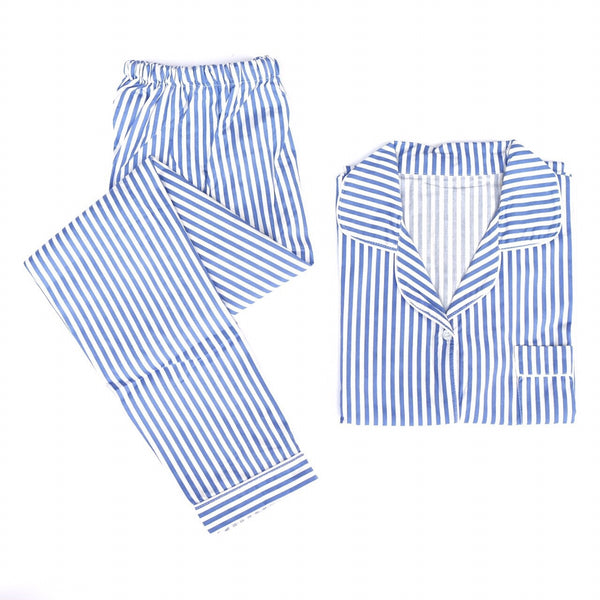 Blue Striped Long Pants Set