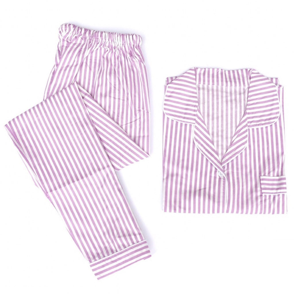 Purple Striped Long Pants Set