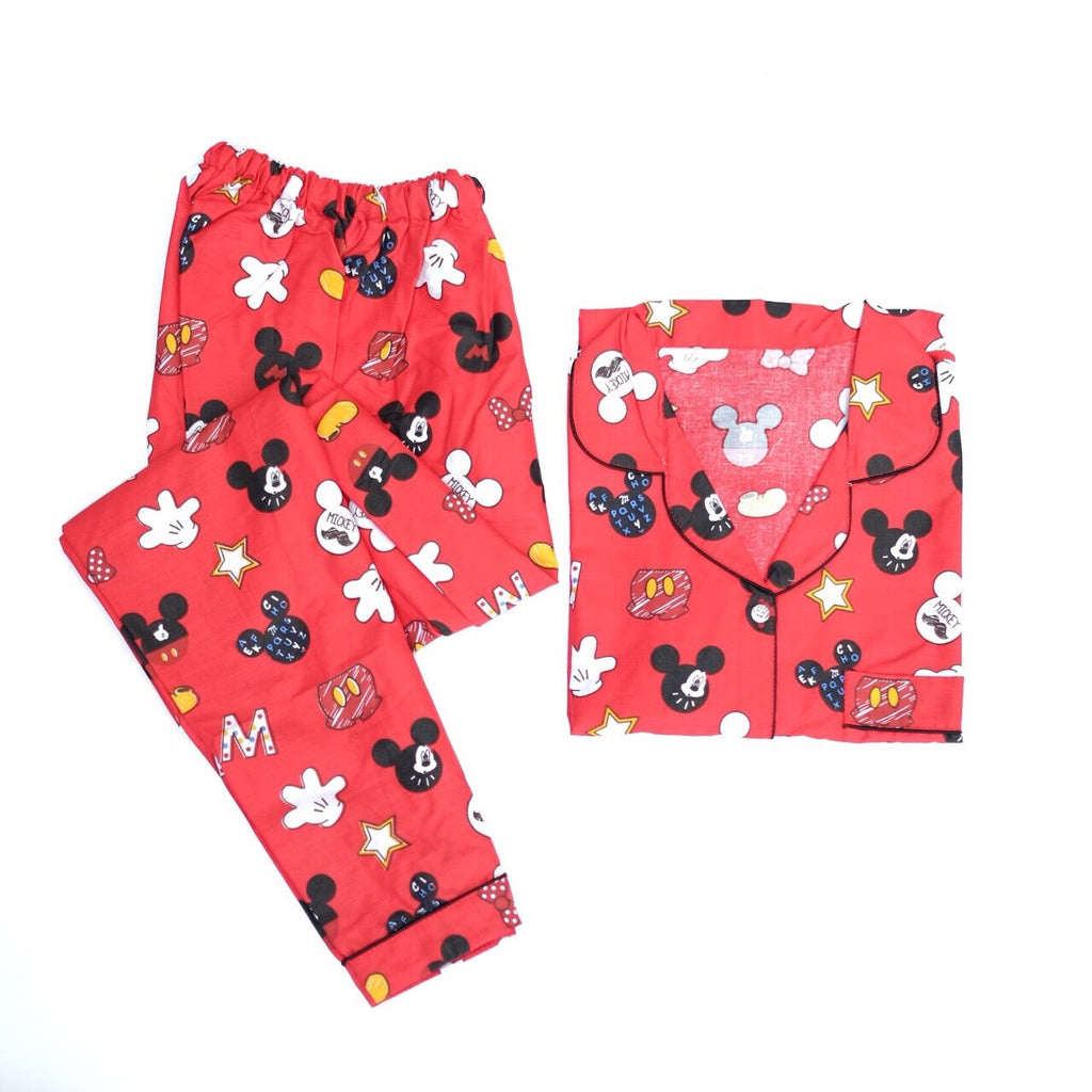 Red Mickey Long Pants Set