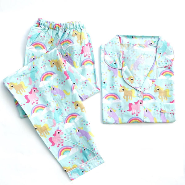 Unicorn Blue Long Pants Set