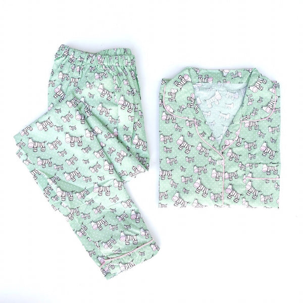 Zebra Green Long Pants Set