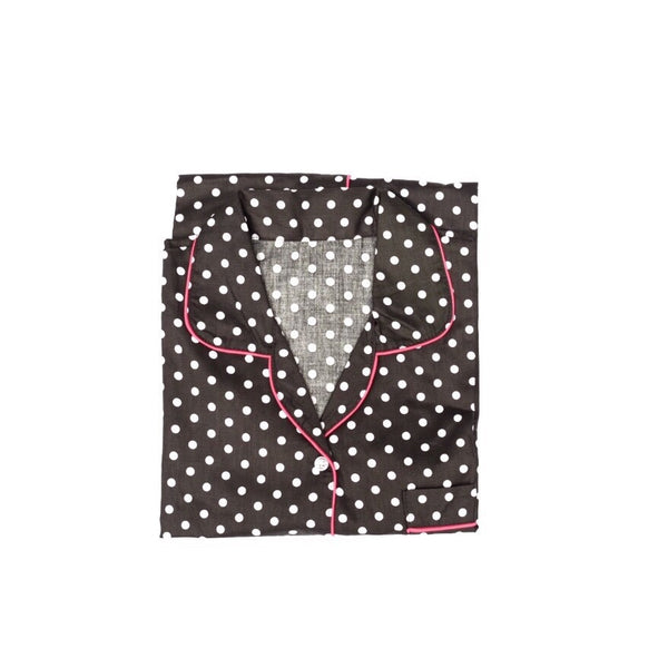 Black Polkadot Short Pants Set
