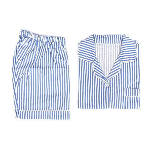 Blue Striped Short Pants Set
