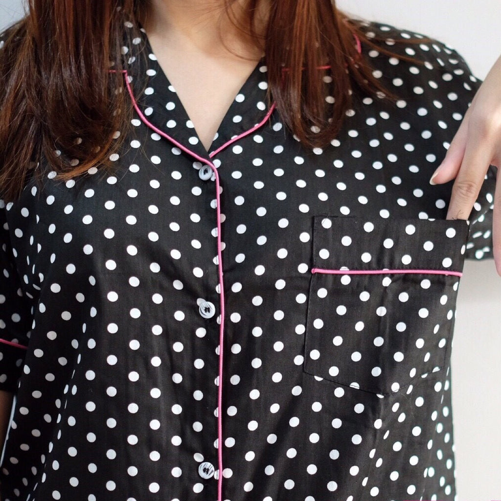 Black Polkadot Sleepdress