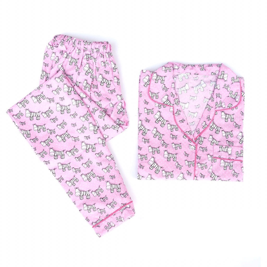Zebra Pink Long Pants Set