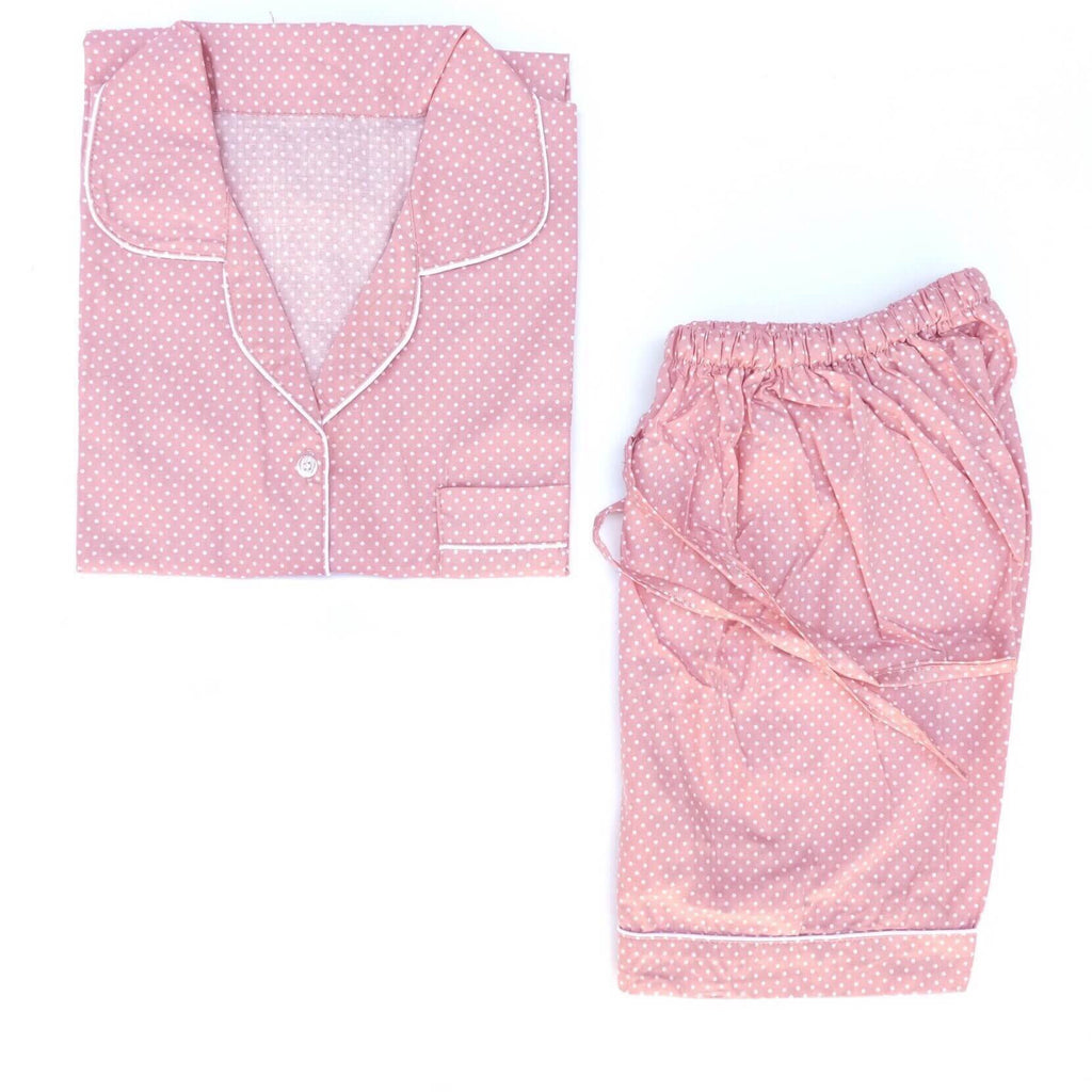Dusty Pink Polkadot Short Pants Set