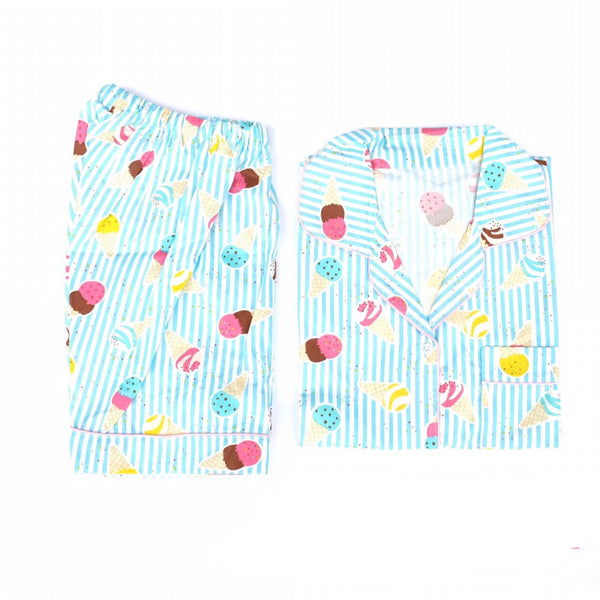 Blue Ice Cream Short Pants Set