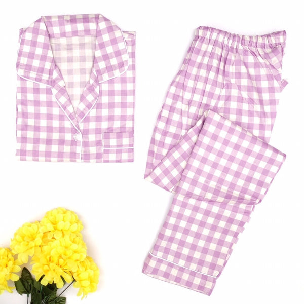 Purple Checkered Long Pants Set