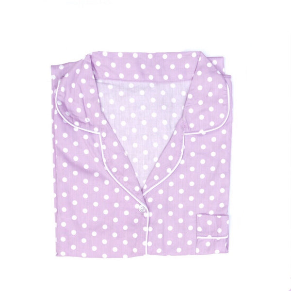 Purple Polkadot Short Pants Set