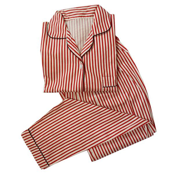 Red Striped Long Pants Set