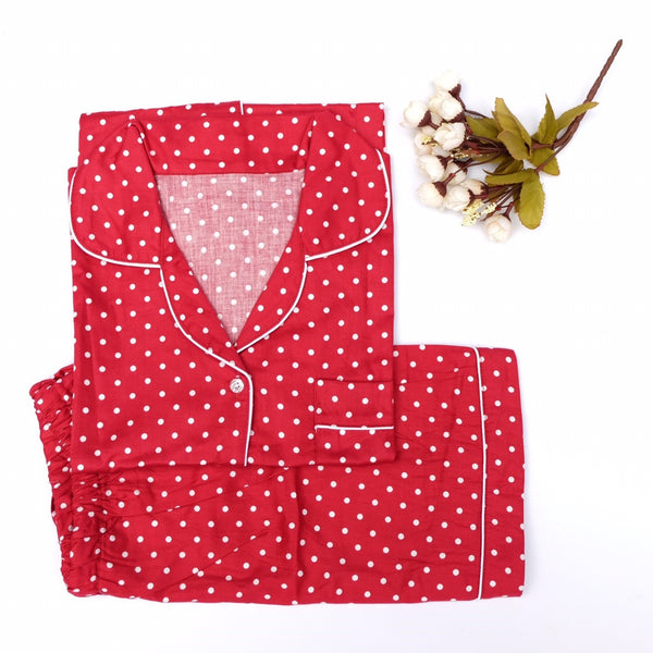 Red Polkadot Short Pants Set