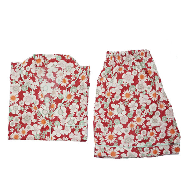 Red Hanami Short Pants Set