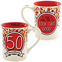 50 Something Mug - Handpainted Stoneware 16 Ounce Coffee Cup w/ Clever Quip