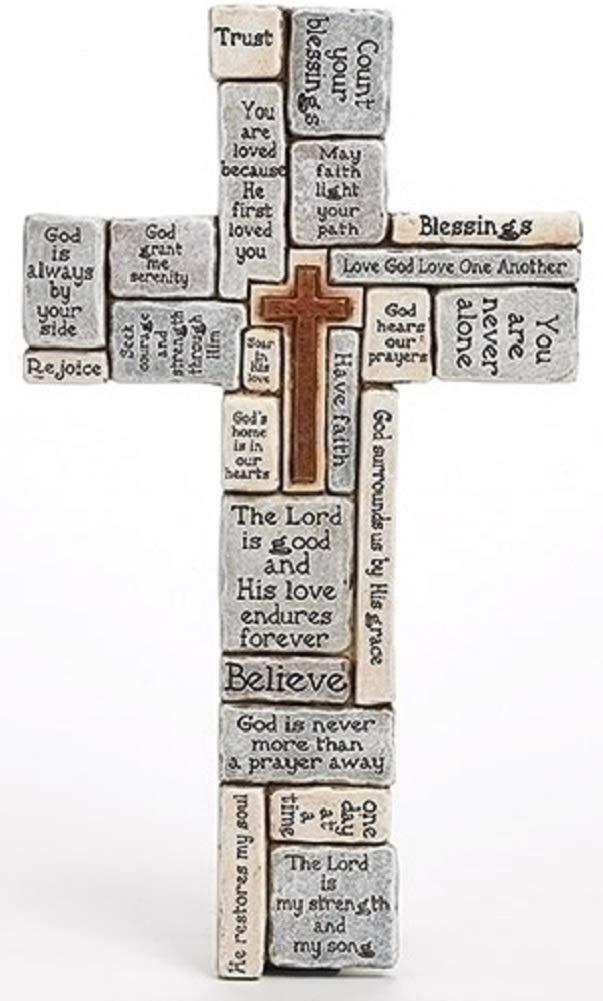 Christians Words and Saying Crossword 16 inch Resin Stoneware Wall Cross