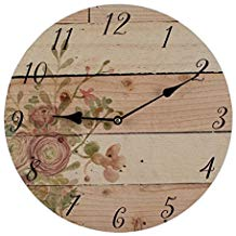 Purple Flowers 12 inch Clock W/Clean Board Home Décor