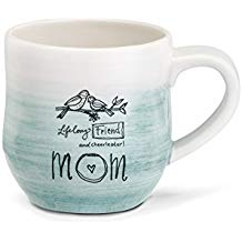 Mom Lifelong Friend Cheerleader Blue Ombre 12 Ounce Stoneware Mug With Handle