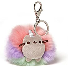 GUND Pusheen Rainbow Unicorn Cat Plush Pom Deluxe Keychain, Multicolor, 4""