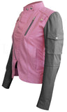 Womens Two Tone Pink & Black Sleeve Leather Jacket