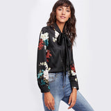 Black Floral Print Self Tie Bow Satin Blouse