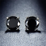 Black Onyx Embellished with Swarovski Crystals 7mm Stud Earringin 18K White Gold Plated
