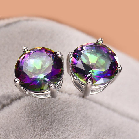 Mystic Topaz Embellished with Swarovski Crystals 7mm Stud Earringin 18K White Gold Plated