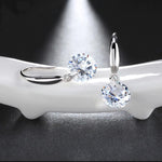 Swarovski Crystal Drill Drop Earring in 18K White Gold Plated