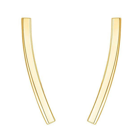 Pav'e Swarovski Elements Curved Bar Studs in 14K White Gold
