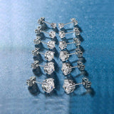 6 Piece Graduating Classic Swarovski Elements Studs in 14K White Gold Plated
