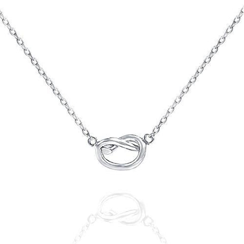 "Trendy Twist Necklace 18""  - 14K White Gold Plated"