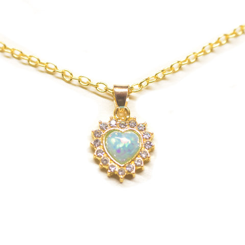 "Opal Created Heart Necklace with Swarovski Crystals 18"" - 14K Gold Plated"