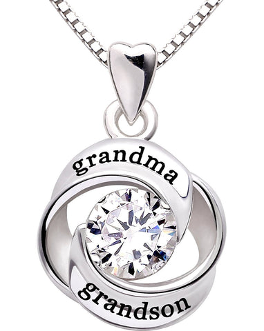 """GRANDMA GRANDSON"" Heart Necklace Embellished with Swarovski Crystals in 18K White Gold Plated"