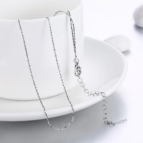 18K White Gold Plated  Mini Singapore Chain Necklace