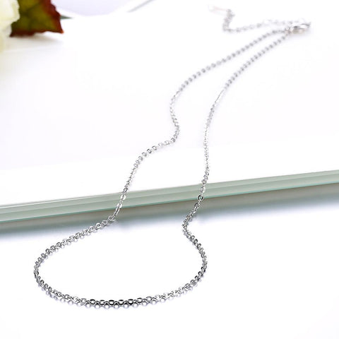 18K White Gold Plated Sleek Chain Necklace
