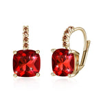 Red Asscher Cut Swarovski Pav'e Leverback in 14K Gold