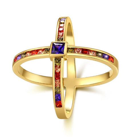 Rainbow Swarovski Criss-Cross Statement Ring in Gold