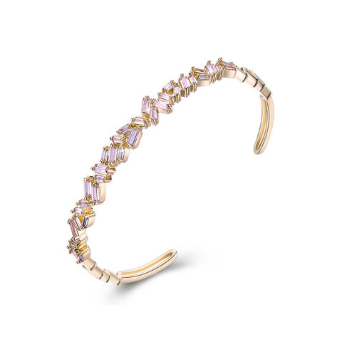 Assymetrical Baguette Cut Swarovski Elements Bangle- Pink