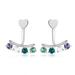 Sterling Silver Multi Stone Clip On Earrings - Silver