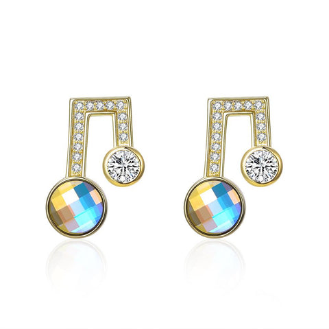 Sterling Silver Musical Noted Swarovski Studs- Gold