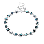 A SKY FULL OF STARS - 5.00 CT Bermuda Blue Swarovski Crystals Sterling Silver Bracelet