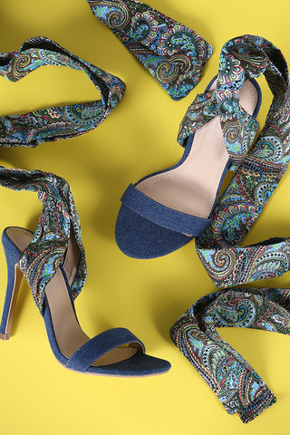 Shoe Republic LA Paisley Ankle Wrap Open Toe Heel
