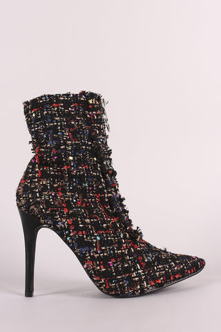 Tweed Front O-Ring Zip-Up Pointy Toe Stiletto Booties