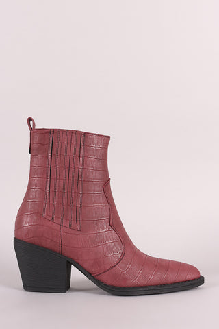 Shoe Republic LA Crocodile Pointy Toe Western Ankle Boots